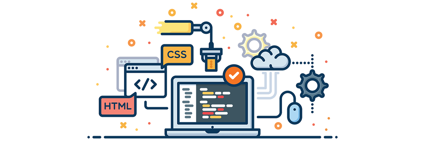 Cartoon illustration of computer with cloud, gear icons and html code