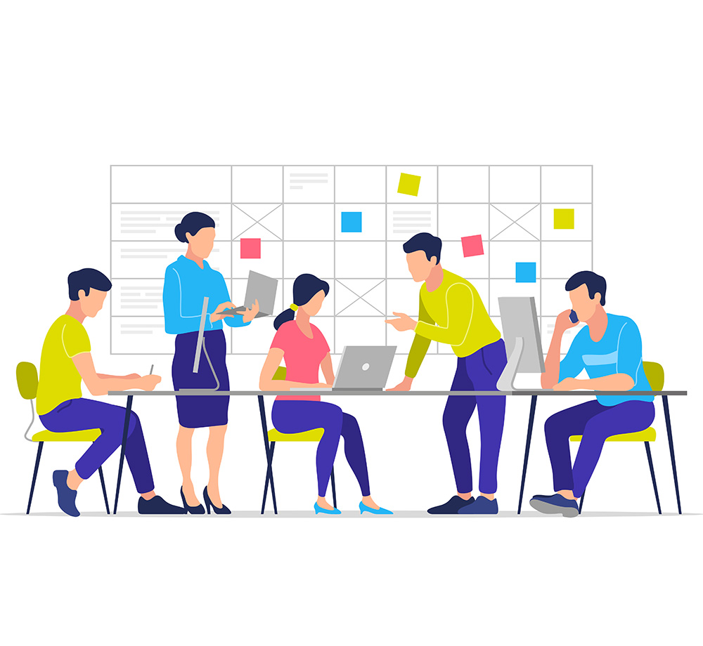 Small business team planning projects