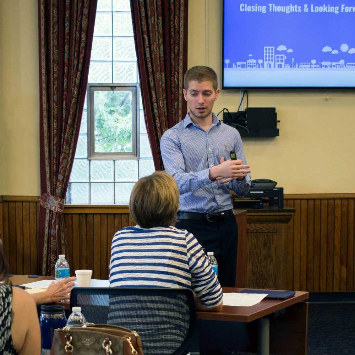CEO, Seth Spencer, presenting to small business owners