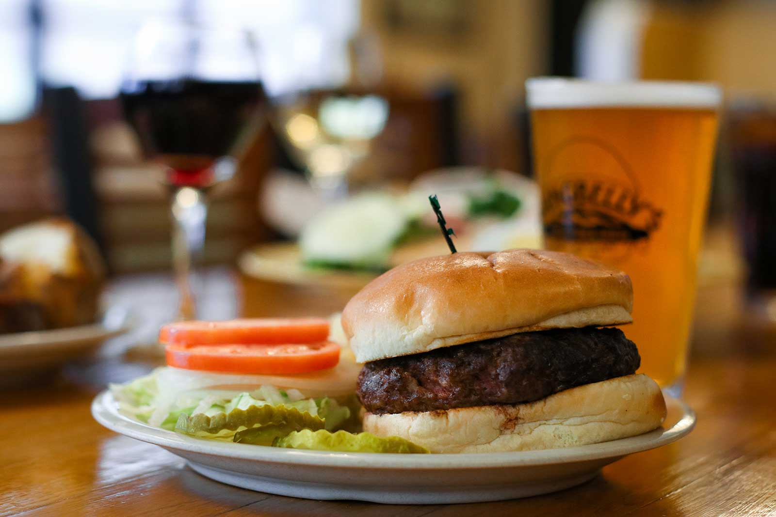 Food photography burger with draft beer
